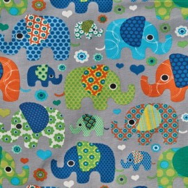 Elephant Cotton Jersey Fabric - Grey