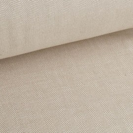 Fritz - Linen fabric with herringbone pattern - Beige