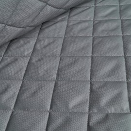 Geo - Ultra Light Quilted Fabric - Grey-Olive
